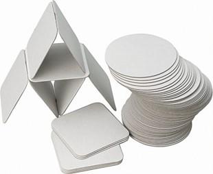 Bild von Bierdeckel Karton weiss roh, Quadratisch 9.5x9.5cm, Packung à 100 Stück